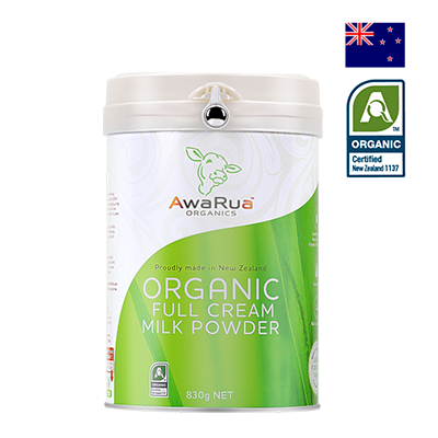 Sữa bột nguyên kem hữu cơ Awarua Organics 830g