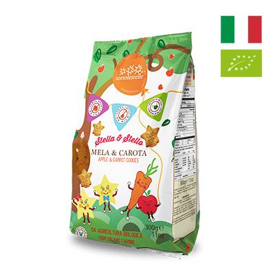 Bánh quy táo cà rốt hữu cơ cho bé Sottolestelle 300g