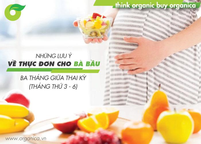 Những lưu ý về thực đơn cho bà bầu ba tháng giữa thai kỳ (tháng thứ 3 - 6)